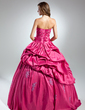 Ball-Gown Strapless Floor-Length Taffeta Quinceanera Dress With Ruffle Beading Appliques Lace Flower(s) (021015574)