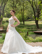 A-Line/Princess Sweetheart Chapel Train Satin Organza Wedding Dress With Ruffle Beading Sequins (002000596)
