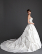 Ball-Gown Strapless Cathedral Train Taffeta Wedding Dress With Ruffle Beading (002015939)