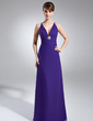Sheath/Column V-neck Floor-Length Chiffon Holiday Dress With Ruffle Crystal Brooch (020003308)