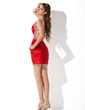 Sheath/Column One-Shoulder Short/Mini Charmeuse Homecoming Dress With Ruffle Beading (022009317)