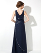 A-Line/Princess V-neck Floor-Length Chiffon Evening Dress With Ruffle Beading Sequins (017020681)