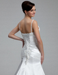 A-Line/Princess V-neck Chapel Train Charmeuse Wedding Dress With Ruffle Beading Appliques Lace (002000434)