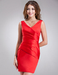 Sheath/Column V-neck Short/Mini Satin Bridesmaid Dress With Ruffle (007000945)