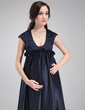 Empire Scoop Neck Sweep Train Charmeuse Charmeuse Maternity Bridesmaid Dress With Ruffle (045022548)