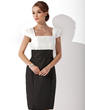Sheath/Column Square Neckline Knee-Length Taffeta Mother of the Bride Dress With Ruffle (008006143)