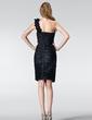 Sheath/Column One-Shoulder Knee-Length Taffeta Cocktail Dress With Ruffle Flower(s) (016020820)