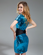 Sheath/Column One-Shoulder Short/Mini Sequined Prom Dress With Sash Beading (018018845)