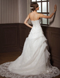 A-Line/Princess Sweetheart Chapel Train Satin Organza Wedding Dress With Lace Beading (002000146)