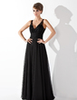 A-Line/Princess V-neck Floor-Length Chiffon Prom Dress With Ruffle Lace Beading (018005092)