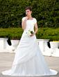 Forme Princesse Encolure carrée Traîne moyenne Taffeta Robe de mariée avec Plissé Emperler À ruban(s) (002001626)