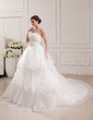 Ball-Gown Strapless Cathedral Train Tulle Wedding Dress With Lace Beading Flower(s) (002019529)