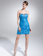 Sheath/Column Sweetheart Asymmetrical Detachable Satin Lace Prom Dress With Ruffle Beading (018015022)