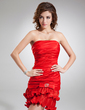 Sheath/Column Strapless Short/Mini Charmeuse Cocktail Dress With Beading Bow(s) Pleated (016008305)