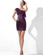 Sheath/Column One-Shoulder Short/Mini Satin Cocktail Dress With Cascading Ruffles (016013107)