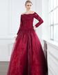 A-Linie/Princess-Linie Schulterfrei Bodenlang Organza Kleid für die Brautmutter mit Spitze Perlen verziert (008002222)