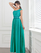 A-Line/Princess One-Shoulder Ankle-Length Chiffon Prom Dress With Ruffle Beading (018004855)