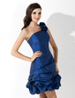 A-Line/Princess One-Shoulder Short/Mini Taffeta Homecoming Dress With Ruffle (022021075)