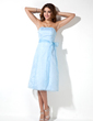 A-Line/Princess Strapless Knee-Length Organza Bridesmaid Dress With Bow(s) (007001803)