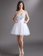 A-Line/Princess Sweetheart Short/Mini Tulle Homecoming Dress With Beading (022016274)
