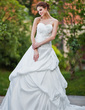 Ball-Gown Sweetheart Cathedral Train Taffeta Wedding Dress With Ruffle Beading Appliques Lace (002001928)