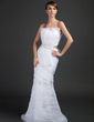 Trumpet/Mermaid Scalloped Neck Sweep Train Organza Wedding Dress With Lace Sash Bow(s) (002015361)