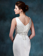 Trumpet/Mermaid V-neck Chapel Train Satin Wedding Dress With Embroidered Ruffle Beading (002000047)