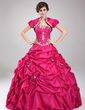 Ball-Gown Sweetheart Floor-Length Taffeta Quinceanera Dress With Ruffle Beading Appliques Lace Sequins (021004559)