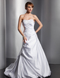 A-Line/Princess Sweetheart Court Train Satin Wedding Dress With Ruffle Beading Appliques Lace (002000448)