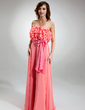 A-Line/Princess Strapless Floor-Length Chiffon Prom Dress With Sash Bow(s) Cascading Ruffles (018016365)