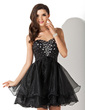 A-Line/Princess Sweetheart Short/Mini Organza Homecoming Dress With Beading (022010565)