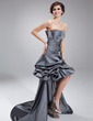 A-Line/Princess Strapless Asymmetrical Taffeta Sequined Prom Dress With Ruffle Beading Appliques Lace (018021077)
