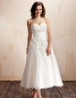 A-Line/Princess Sweetheart Ankle-Length Organza Wedding Dress With Ruffle Lace Flower(s) (002012174)