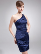 Sheath/Column One-Shoulder Short/Mini Charmeuse Mother of the Bride Dress With Ruffle (008016880)