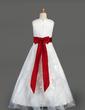 A-Line/Princess Floor-length Flower Girl Dress - Organza/Satin Sleeveless Scoop Neck With Ruffles/Sash/Beading/Bow(s) (010014643)