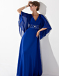 A-Line/Princess V-neck Floor-Length Chiffon Mother of the Bride Dress With Ruffle Beading Sequins (008005706)
