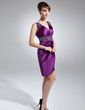 Sheath/Column V-neck Knee-Length Charmeuse Mother of the Bride Dress With Ruffle Beading (008006127)