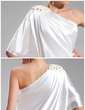 Sheath/Column One-Shoulder Short/Mini Charmeuse Cocktail Dress With Beading (016022563)