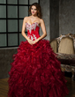 Ball-Gown One-Shoulder Floor-Length Organza Quinceanera Dress With Beading Appliques Lace Sequins Cascading Ruffles (021020578)