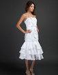 Sheath/Column Strapless Knee-Length Taffeta Homecoming Dress With Bow(s) Cascading Ruffles (022015366)