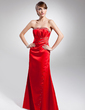Sheath/Column Strapless Floor-Length Satin Evening Dress With Ruffle Beading (017014688)