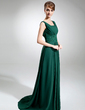 Empire Square Neckline Sweep Train Chiffon Mother of the Bride Dress With Ruffle Beading Sequins (008006425)