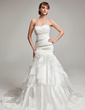 Trumpet/Mermaid Sweetheart Court Train Organza Wedding Dress With Beading Cascading Ruffles (002017563)