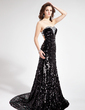 Trumpet/Mermaid Sweetheart Court Train Sequined Prom Dress With Beading (018018907)