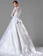 Ball-Gown V-neck Chapel Train Satin Wedding Dress With Ruffle Appliques Lace Bow(s) (002004745)