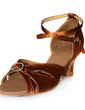 Women's Satin Heels Sandals Latin With Ankle Strap Dance Shoes (053013274)