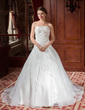 Ball-Gown Sweetheart Chapel Train Organza Wedding Dress With Beading Appliques Lace Flower(s) (002011652)