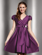 A-Line/Princess V-neck Short/Mini Satin Homecoming Dress With Ruffle Crystal Brooch Bow(s) (022013768)