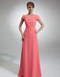 Linia A/Księżniczka Off-the-ramię Do Podłogi Chiffon Suknia dla Mamy Panny Młodej Z Żabot Perełki (008006053)
