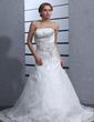 A-Line/Princess Strapless Chapel Train Satin Organza Wedding Dress With Ruffle Beading Appliques Lace (002000318)